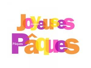 Mosaïque de Lettres JOYEUSES PAQUES (carte joyeuses pâques fê